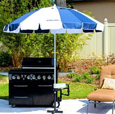 The Grillbrella uses a beach umbrella to shade the BBQ grill.