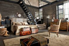 Great industrial space with personality. Love the vintage suitcases ...