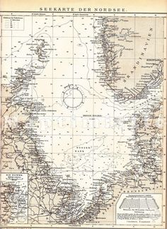 1904 Marine and Nautical or Sea Chart of the North by Maptimistic