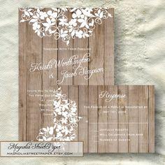 Printable Rustic Wedding Invitation, Lace and Wood Invitation, Custom Printable, Includes RSVP, Wedding Suite, Elegant Wedding