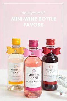 DIY mini-wine bottle wedding favors:
