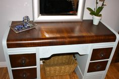 "The Horrendous Waterfall Desk, Redone. You can't believe the ""before"" condition. Wood repair on furniture."
