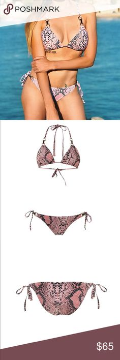 Bikini (top + bottom) Bikini triangle top with removable bulge and adjustable bottom. Product in original packaging and with bottom hygienic protection. About the color: pink snake print. Mavele Swimwear Swim Bikinis