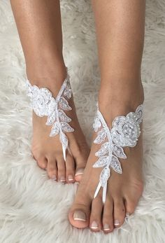 White or ivory lace barefoot sandals FREE by LaceBarefootSandals