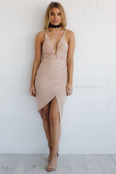 fit:   standard sizing, fitted body-con style, medium weight fabric, unlined, deep V neckline, adjustable straps, side ruchin detailing, asymmetrical hemline colour:   nude fabric:   100% polyester length:   approx. 59cm from waist to shortest point of hemline our model is 163cm tall and is pictu...