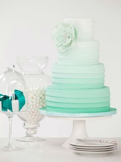 Mint Green Ombre Cake---perhaps in blue/turquoise shades for peacock wedding?