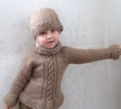 Little Elsas Sweater  THIS IS A KNITTING PATTERN!! This is an automatic PDF download. You will receive an email with instructions to download this file. Little Elsas Sweater was designed with cables in mind. It is knit from the top down starting with the collar. It has an interesting cable pattern on the collar, sleeves and front of the sweater. Little Elsas Hat was designed to match this sweater. It can be purchased from my store: https://www.etsy.com/ca/listing/1757...