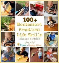 This is an amazing list with blog links for 100+ Montessori Practical Life Skills. I have also included a free printable check list for homeschoolers.
