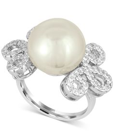 Majorica Sterling Silver Imitation Pearl and Pave Ring