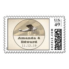 postage stamps for wedding with plane