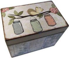 Receta, receta madera, caja de tarjeta de felicitación, rosa flor - otros diseños, receta de boda, despedida de soltera caja, sostiene tarjetas 5 x 8, hechas por encargo