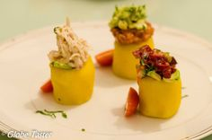 The peruvian causa from Chef Timour, inspired by Gaston Acurio The main part of the causa is made with mashed potatoes with aji amarillo and lime