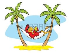 palm tree: Hammock Parrot Illustration