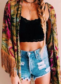 cutoff high wasted shorts and a kimono