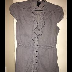 H&M size 6 Button Down Ruffle Tie Waist Top stripe Navy and white striped blouse H&M Tops Blouses