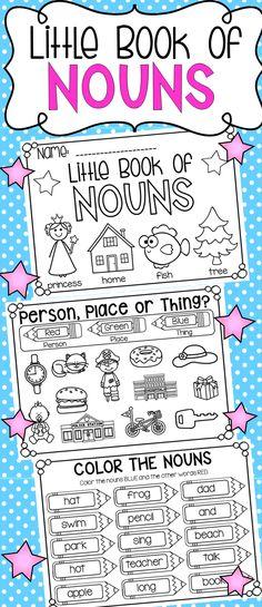 Little Book of Nouns to accompany my nouns unit. Kindergarten Language Arts, Kindergarten Literacy, Grammar Activities, Teaching Resources, Teaching Ideas, Nouns And Verbs, Teaching The Alphabet, Thing 1, Word Families