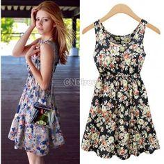 2014 New Women Casual Summer Slim Flower Printed Sleeveless Party Chiffon Vest Dress