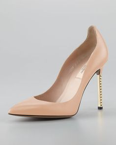 Rockstud Studded-Heel Napa Pump, Noisette - Valentino    i'm not much of a pointy toe heel kind of girl but i love these