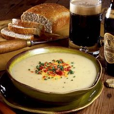 Irish Potato Soup -     The Irish love their potatoes, and this soup truly makes the most of this humble, hearty vegetable. Sautéed onions and leeks are cooked with potatoes in chicken broth, pureed until smooth, and then served hot or cold and topped with chives and crumbled bacon.