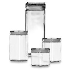 This Anchor Hocking Square Stackable Canister is elegant, with clean angles and clear glass sides to prominently display the contents of each. Each canister has a seal-tight lid with a lipped top surface so they won't slide when you stack them.