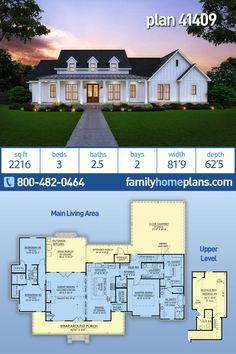 Country, Farmhouse, Southern House Plan 41409 with 3 Beds, 3 Baths, 2 Car Garage