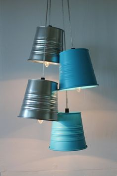 Garden Plant Pot Chandelier  Upcycled Hanging by BootsNGus on Etsy, $130.00
