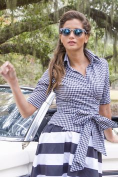 Country Wrap Top Black and White Gingham