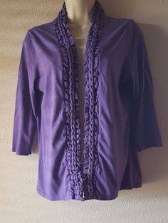Coldwater Creek Open Front Purple Hand Knit Cardigan Top 3/4 Sleeve S/8 #ColdwaterCreek #KnitTop #Casual