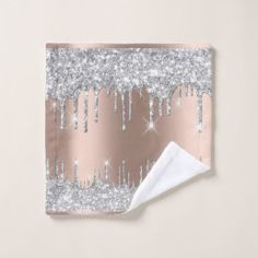 Spark Drips Glitter Effect Rose Silver Gray Shower Curtain | Zazzle.com
