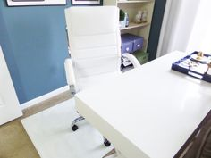 white high back office chair Concrete Landscape Edging, High Back Office Chair, Home Office Space, Office Ideas, Pretty, Modern, Room, Bedroom, Trendy Tree