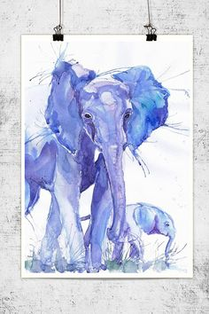 Elephant -with-baby-watercolor-wildlife