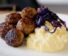 Norweigan Turkey Meatballs with braised red cabbage and mashed potatoes.