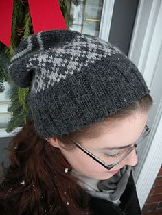 This cap was first designed to be a simple but visually interesting hat for my father. Knit in the round, the hat can be worn with the ribbing folded or not. The stranded section adds extra warmth at the ears. Two 100 gram worsted weight skeins can easily make up two hats with the Main and Contrast colors reversed. The pattern's stranded section is also a good way to use up odds and ends of skeins for the contrasting color.