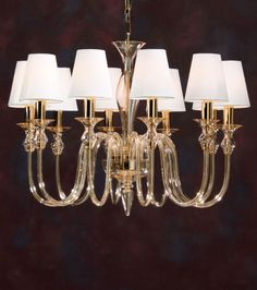 murano glass chandelier - amber hand-blown Venetian glass chandelier