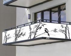 "Balkonbanner ""Japanische Malerei"" Banner, Japanese Painting, Balcony, Garage, Symbols, Ceiling Lights, Design, Home Decor, Banner Stands"
