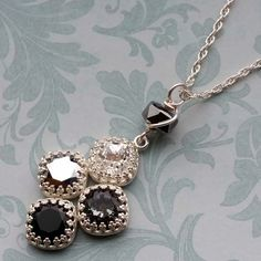 Learn how to set Swarovski cushion square crystal stones into pre-made crown bezel settings to make this sparkling necklace in suave shades of gray. Diy Jewelry Inspiration, Jewelry Ideas, Jailhouse Rock, Necklace Tutorial, White Opal, Stones And Crystals, Clear Crystal, Black Diamond, Wearable Art