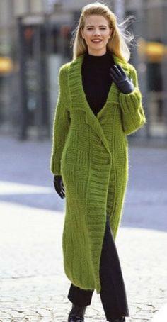 Women's Hand Knitted Long Coat – Hand Knitting Cardigans For Women, Coats For Women, Clothes For Women, Knitwear Fashion, Knit Fashion, Dress Fashion, Long Knit Cardigan, Knit Dress, Sweater Cardigan