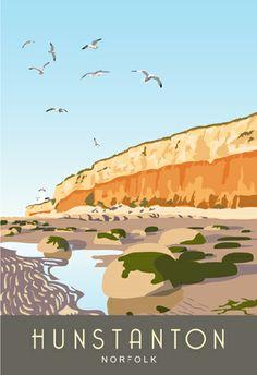 Hunstanton Cliffs and Lighthouse North Norfolk Coast Posters Uk, Railway Posters, Design Posters, Norfolk Coast, Norfolk Broads, Scotland History, Tourism Poster, British Seaside, Portrait Pictures