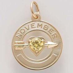 Gold 11 Nov Month of Love Charm by Rembrandt Charms Topaz Birthstone, Birthstone Charms, Birthstone Jewelry, Charm Jewelry, Jewelry Box, Silver Charms, Birthstones, White Gold, Charmed