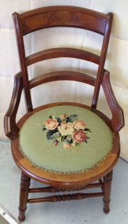 Antique Victorian Eastlake Wood Dining Side Chair Green Stitched Cushioned  Seat
