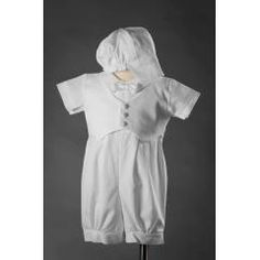 Boys White Cotton Romper with Pique Vest Tyler by Lito