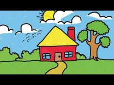Simple House Drawing for Kids Step by Step Lesson Drawing Pictures For Kids, Scenery Drawing For Kids, Easy Drawings For Kids, Easy Animal Drawings, Cute Cartoon Drawings, Pencil Drawings, Simple House Drawing, House Drawing For Kids, Toddler Drawing