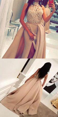 ☆DRESSYWOMEN☆ @ioLA ☆  High Neck Prom Dresses,Champagne Prom Dresses,Lace Prom Dresses,Prom Dresses 2017