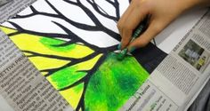 Tree 4 seasons - oil pastels