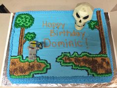Terraria cake.  Dominic's birthday cake request this year was Terraria, made by me ☺️