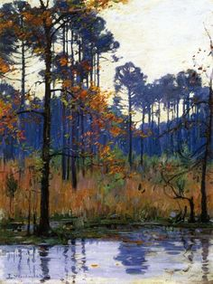 Ellsworth Woodward - I love these pine trees on the edge of the water.