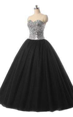 Ball Gown Sweetheart Tulle Sequined Floor Length Crystal Black Prom Dress