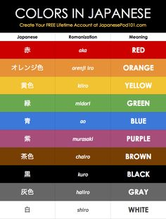 Check Out How to Learn Japanese on your own time: https://www.japanesepod101.com?src=pinterest_color_chart_pin_post&utm_medium=pin_post&utm_content=pin_post&utm_campaign=color_chart&utm_term=(not-set)&utm_source=pinterest&utm_source=pinterest #japaneselessons