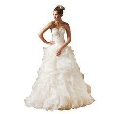 Amazon.com: GEORGE BRIDE ELegant Strapless Tiered Organza Wedding Dress: Clothing