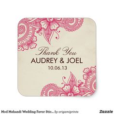 Mod Mehandi Wedding Favor Stickers Elegant henna inspired wedding design by Shelby Allison. Clink the Mod Mehandi Collection link to view matching items including invitations, rsvp cards, stickers and more.
